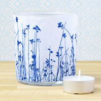 Meadow Cyanotype candle tealight holder white & blue