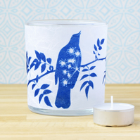 Blackbird tea light holder, Blue and White, Cyanotype Art