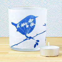 Wren and Cow Parsley Blue and White Cyanotype Art Tealight Holder
