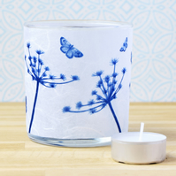 Seed head and butterflies Cyanotype tea light holder, blue and white
