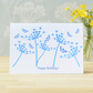 Happy Birthday Card, Cow Parsley Seed heads and butterflies, Cyanotype Art Card