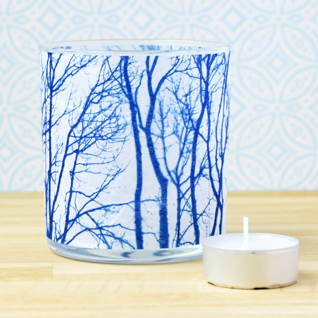 Winter Tree Branches Cyanotype candle holder