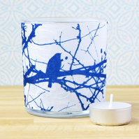 Robin in branches cyanotype delicate textured paper candle holder white & blue