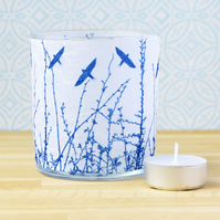 Swallows over hedgerow Cyanotype Translucent Blue Tea light holder