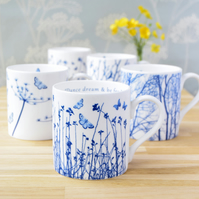 Set of 4 Fine China Mugs Offer, Blue and White