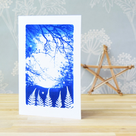 Christmas Card Magical Fern Forest Cyanotype Blue and White