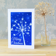 Merry Christmas Seed head and stars Cyanotype Card