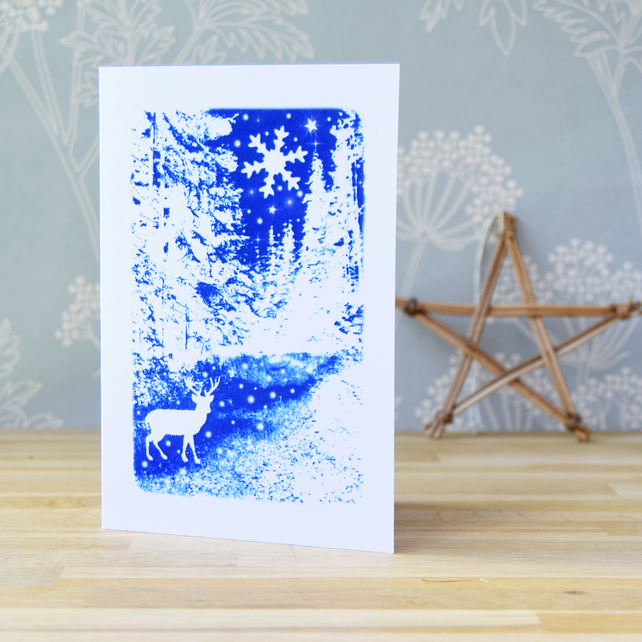 Winter Wonderland Christmas card from Cyanotype image