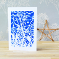 Christmas card with bird in branches and sparkling lights
