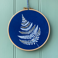 Fern Cyanotype Embroidery hoop with French Knots