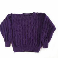 Hand knitted baby jumper in purple 20 inch chest 6 - 12 months