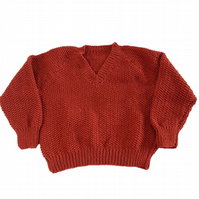 Hand knitted textured fox brown jumper - sweater - 24 inch chest - boys girls