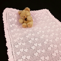 Hand knitted baby christening sweetheart shawl in baby pink lightweight yarn