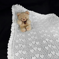 Cream hand knitted baby sweetheart shawl in lightweight yarn - receiving blanket