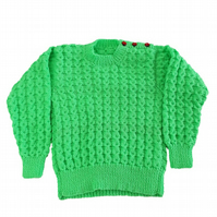 Hand knitted classic round neck jumper bright green with textured pattern