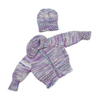 Hand knitted baby smocked cardigan and hat 0 - 6 months - baby clothes matinee