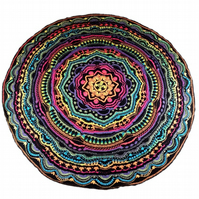 Large crochet circular throw blanket sparkly colourful mandala madness 5.9ft