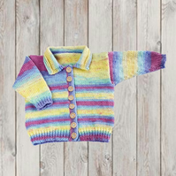 Girls stripy hand knitted collared cardigan to fit 5 years 24 inch chest