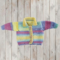 Hand knitted baby girls stripy cardigan 0 - 3 months 16 inch chest