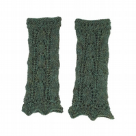 Hand knitted ladies lace pattern wrist warmers - made to order