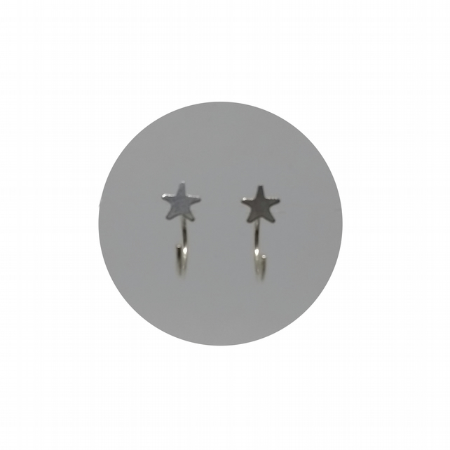 Sterling Silver Star Hugging Hoops :: Hug Earrings :: Ear Hugger Hoops by Crura