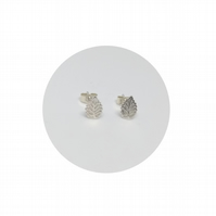 Sterling Silver Leaf Studs :: Earrings Simple Modern by Crura