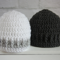 Two Baby Beanie Hats