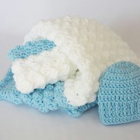 Crochet Baby Blanket and Hat