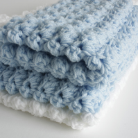Crochet Baby Blanket in Blue and White