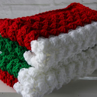 Crochet Blanket in Green Red and White