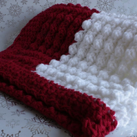 Red and White Crochet Baby Blanket