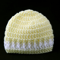 Crochet Baby Beanie Hat in Yellow and White
