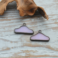 Handmade Stained Glass Pair of Cloud Charms Pink