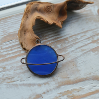 Handmade Stained Glass Planet Pendant Blue