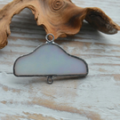 Handmade White Pearl Stained Glass Cloud Pendant