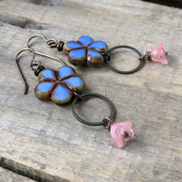 Blue & Pink Flower Earrings. Colourful Czech Glass Earrings. Floral Bead Earring