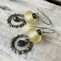 Bohemian Yellow & Black Earrings. Rustic Hoop Earrings. Lightweight Earrings