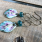Multi Coloured Earrings. Artisan Ceramic Earrings. Colourful Petal Earrings