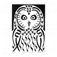 Short-eared Owl black and white linocut (edition of 30)