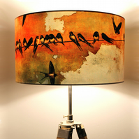 Swallows at Sunrise Drum Lampshade by Lily Greenwood (45cm Diameter)