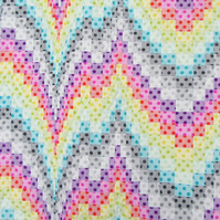 Modern Patchwork Quilted Throw in Rainbow Colours for indoor or outdoor living