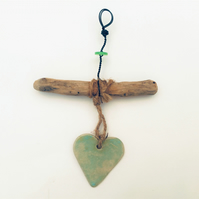 Driftwood Love heart hanger, pottery, gift idea, birthday, unique pottery