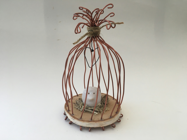 Wire bird cage, wire art sculpture, wire and pottery hanger, fantasy