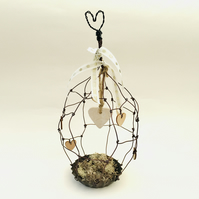 Wire art bird cage with ceramic love heart hanger, bespoke art