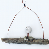 Wire art, bird on a driftwood wire, wire sculpture