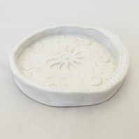 Soap dish, ceramic dish, ring dish, white trinket dish, handmade pottery