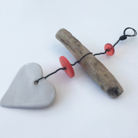 Driftwood ceramic hanger, Loveheart hanger, gift idea, birthday, home decor