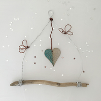 Wire art, hand made wire hanger, driftwood and pottery wall hanging