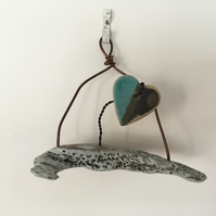 Driftwood wall hanger, pottery hanger, wire art, home decor