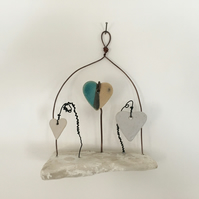Driftwood wall hanger, pottery hanger, wire art, wire sculpture, home decor